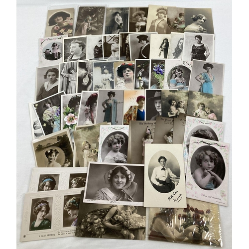 1201 - Approx. 60 assorted Edwardian postcards of singers, stage actresses and beauties. Together with 28 s...