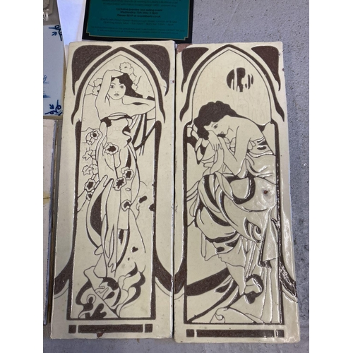 1359 - A box of antique and vintage tiles and tile samples to include two cream and brown Art Nouveau tile ...