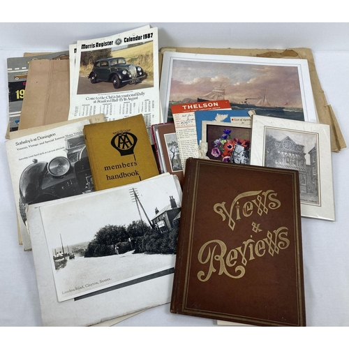 1207 - A box of assorted vintage ephemera, to include booklets, prints & calendars. Lot includes 1950's lea...