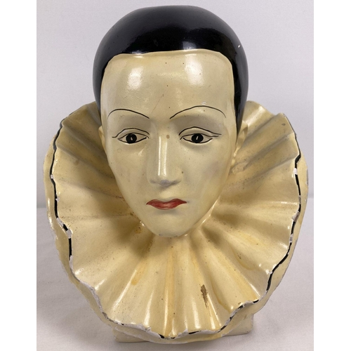 1086 - A vintage chalk bust of a Pierrot clown. Approx. 28cm tall.