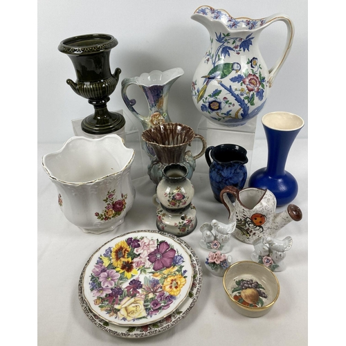 1088 - A box of assorted vintage ceramics to include vases & jugs. Lot includes: a Victorian Booth's Wash s...