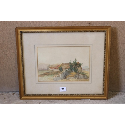 21 - Watercolour farm sheds in a field dated 1863, indistinctly signed...