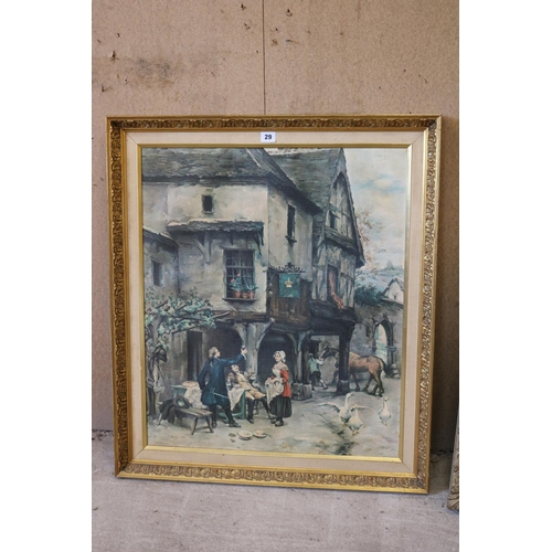 29 - Early 19th century scene of figures drinking outside a coaching inn in gilt frame...