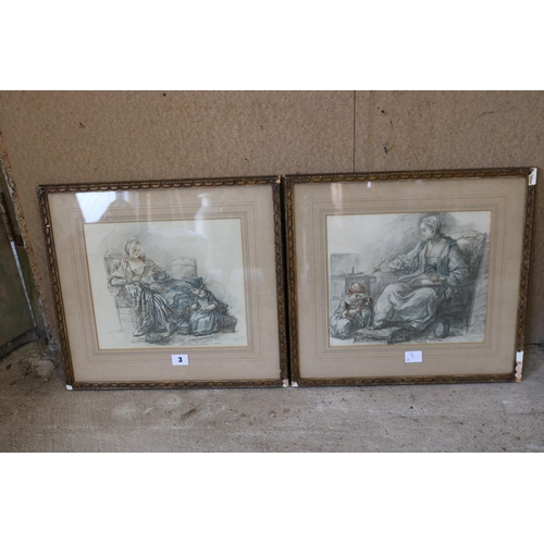 3 - Pair of framed pictures,mother and child & child portrait with artists Blind stamp...