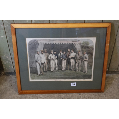 30 - Of cricketing interest,an antique wood engraving of the Surrey X1 1861...