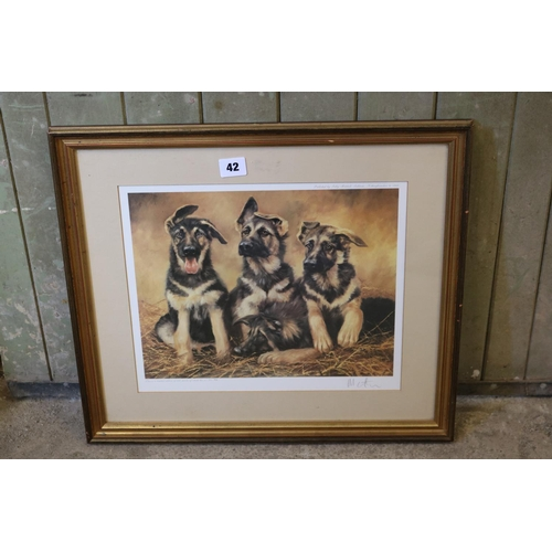 42 - Coloured print of 3 Alsatian puppies by Mick Cawston...