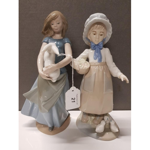 21 - 2 SPANISH LADY FIGURES NADAL GIRL FEEDING CHICKS AND NAO GIRL WITH BUNNY...