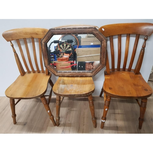 33 - 3 SPINDLE BACK KITCHEN CHAIRS PLUS OAK FRAMED MIRROR...