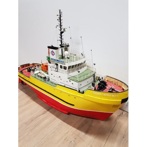 4 - REMOTE CONTROL LARGE MODEL OF A YORKSHIREMAN TOWING BOAT...