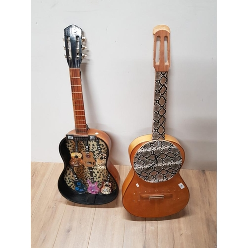 56 - 2 CONVERTED ACOUSTIC GUITARS WALL CLOCK AND WALL HANGING...