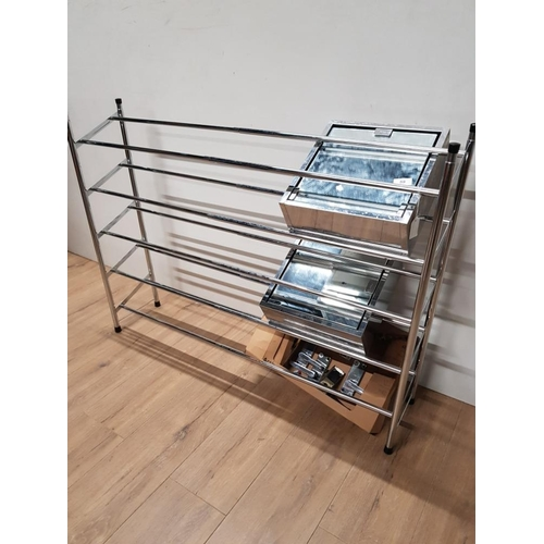 59 - CHROME EFFECT EXTENDING SHOE RACK PLUS 2 CABINETS AND DOOR HANDLES...