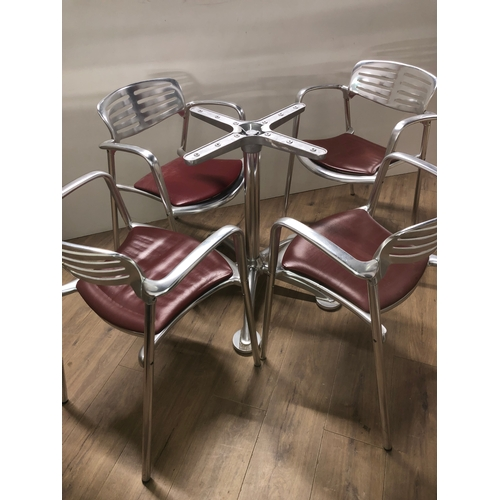 1 - SET OF 4 DESIGNER CHAIRS NAMED TOLEDO MADE OF CAST ALUMINIUM DESIGNED BY JORGE PENSI 1986 TO 1988 TO...