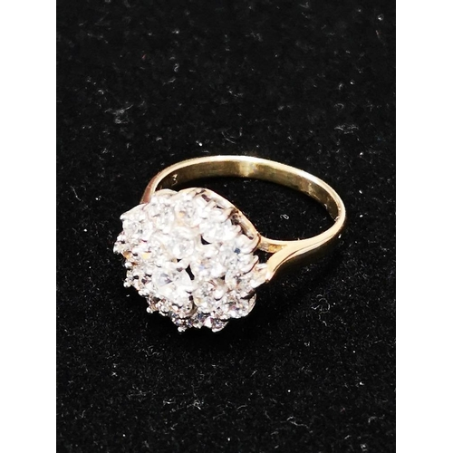 1 - 9CT GOLD CZ CLUSTER RING SIZE M 3.1G...
