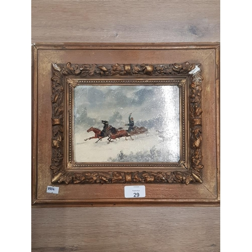 29 - FRAMED OIL ON PANEL OF A RUSSIAN TROIKA IN A SNOW STORM PURSUED BY WOLVES INDISTINCTLY SIGNED...