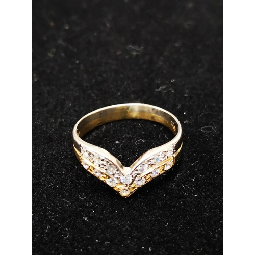 7 - 18CT YELLOW AND WHITE GOLD DOUBLE WISHBONE RING SIZE N 2.9G...