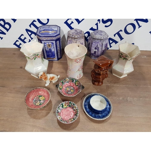 SEVEN PIECES OF MALING WARE TO INCLUDE CLEMATIS PATTERN DISHES A PAIR OF JUGS SAS AN OWL MONEY BOX THREE RINGTONS TINS ETC