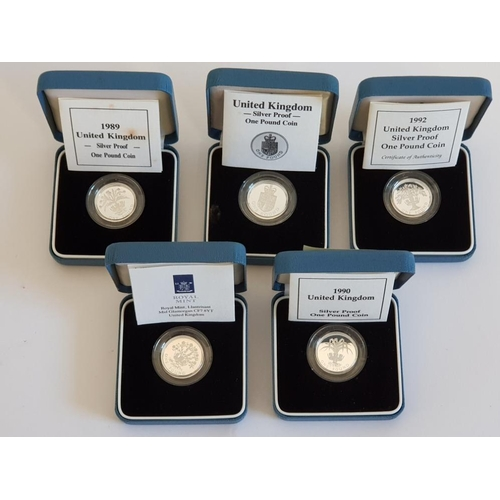 5 ROYAL MINT UK 1 POUND SILVER PROOF COINS FROM 1988 TO 1992 ALL IN ORIGINAL CASES WITH CERTIFICATES