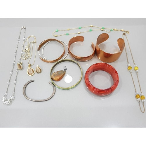 A SILVER BANGLE 14.3G THREE COPPER BANGLES AN AMBER TYPE BRACELET NECKLACES ETC