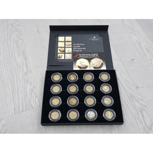 COINS UK 50P 40TH ANNIVERSARY PROOF PRESTIGE SET OF 16 COINS INC KEW GARDENS 1992/93 COUNCIL OF EUROPE ETC ALL ARE LAYERED IN PURE 24 CARAT GOLD IN AN ATTRACTIVE DISPLAY CASE