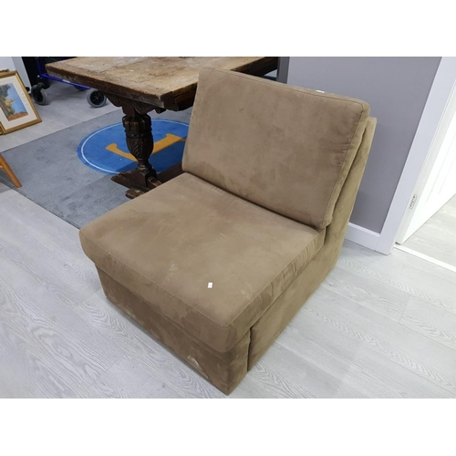 A BROWN SUEDE EFFECT OCCASIONAL CHAIR/SINGLE BED