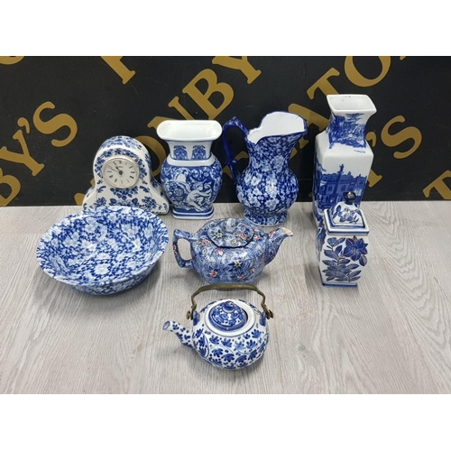8 PIECES OF BLUE AND WHITE TO INCLUDE DELFT RINGTONS CHINTZ PATTERN ETC