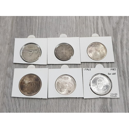 11 - 6 SILVER ITALIAN COINS 1887 2 LIRE 1961,1966,1983 AND 1974 500 LIRE AND 1977 1000 LIRE IN NICE CONDI...