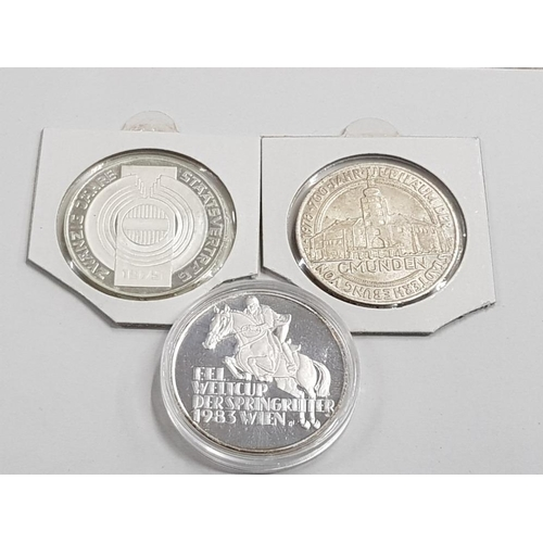 15 - 3 AUSTRIAN SILVER COINS INCLUDES 1975 AND 1978 100 SCHILLING AND 1983 500 SCHILLING...