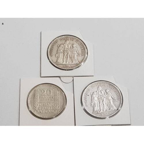 17 - FRENCH COINS TO INCLUDE 1873 AND 1875 SILVER...