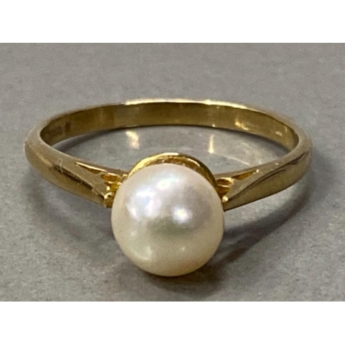2 - 9CT GOLD CULTURED PEARL SOLITAIRE RING, 1.9G SIZE K...