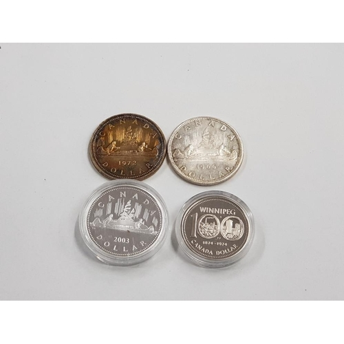 20 - 4 CANADIAN SILVER $1 COINS 1966 1972 1974 2003