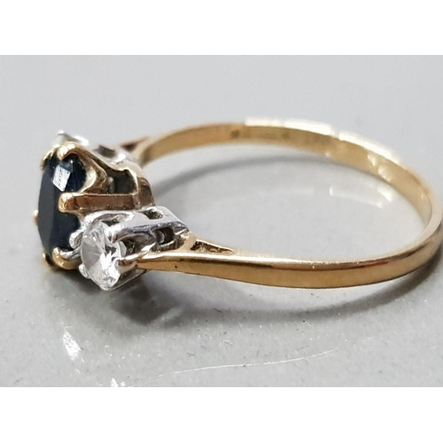 4 - 9CT GOLD SAPPHIRE AND CZ 3 STONE RING 2.1 G GROSS SIZE- N...