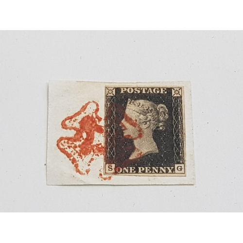 51 - 1840 1D BLACK FINE FOUR MARGINS TIED TO A SMALL PIECE BY A RED MALTESE CROSS...