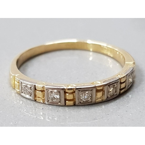 8 - 18CT GOLD 5 STONE DIAMOND 1/2 ETERNITY RING MAKER CHARLES GREEN AND CO HM BIRM 1970/71 2.0G GROSS SI...