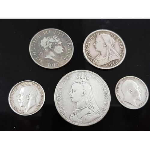 50 - 5 SILVER COIN COLLECTION INCLUDING 1889 CROWN VICTORIA, 1899 HALF CROWN VICTORIA, 1918 SHILLING GEOR...