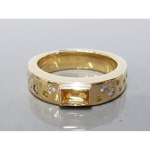 13 - HEAVY 18CT GOLD AND NATURAL YELLOW SAPPHIRE RING ACCENTED WITH NATURAL YELLOW AND WHITE DIAMONDS SIZ...