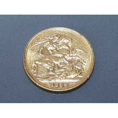 57 - 22CT GOLD 1899 FULL SOVEREIGN COIN...