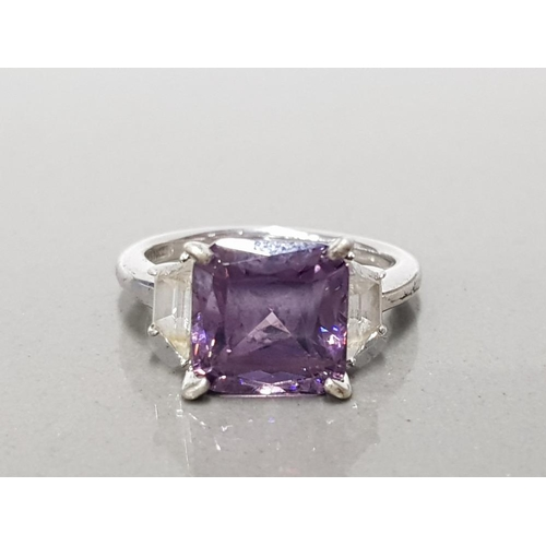 6 - 925 STERLING SILVER PURPLE AND WHITE 3 STONE CZ RING SIZE O GROSS WEIGHT 5.5G...