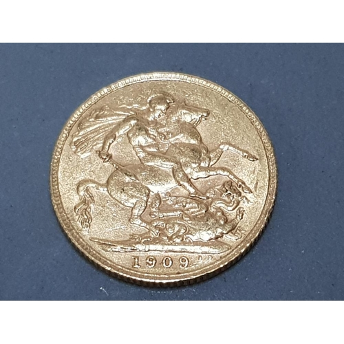 60 - 22CT GOLD 1909 FULL SOVEREIGN COIN...
