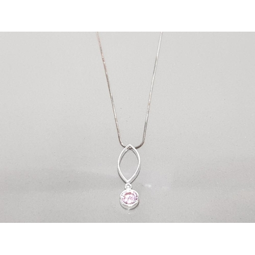 1 - 925 STERLING SILVER AND PINK CZ PENDANT ON CHAIN GROSS WEIGHT 5.8G...