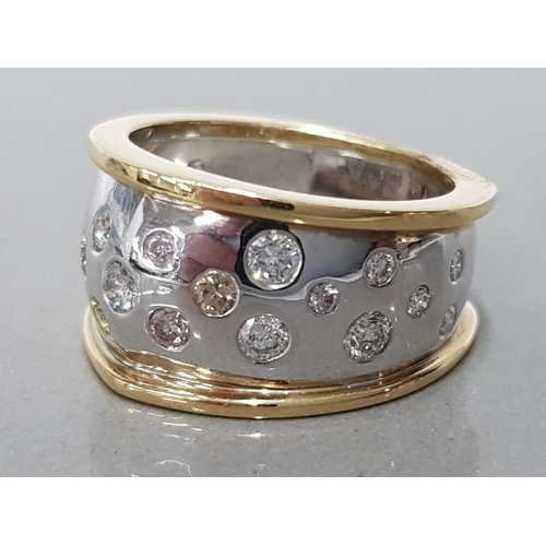 14 - FANCY COLOUR DIAMOND RING WITH VARIOUS COLOURED DIAMONDS 1.38CTS TOTAL SET IN 18VT YELLOW GOLD SIZE ...