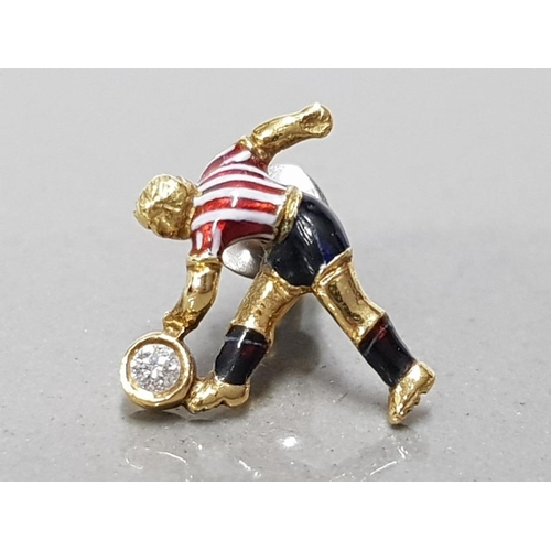 18 - 18CT YELLOW GOLD AND DIAMOND HAND MADE SUNDERLAND FOOTBALLER TIE PIN UNIQUELY HAND ENAMELLED WITH CL...