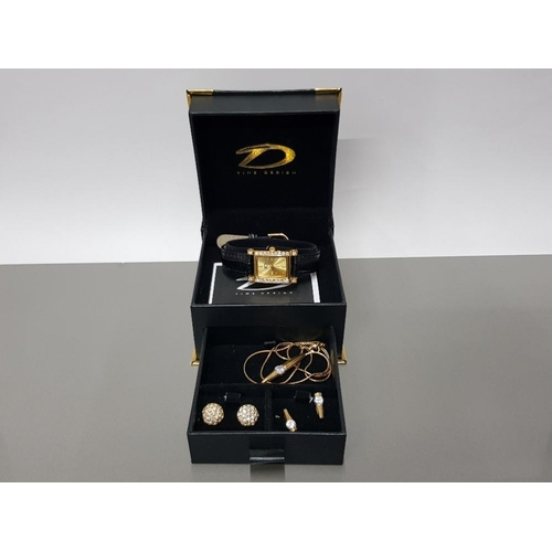 2 - TIME DESIGN GIFT BOX CONTAINING WATCH PENDANT NECKLET AND 2 PAIRS OF EARRINGS...
