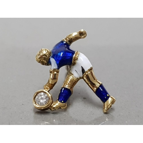20 - 18CT YELLOW GOLD AND DIAMOND HAND MADE GROSS WEIGHT 1.4G EVERTON FOOTBALLER TIE PIN UNIQUELY HAND EN...