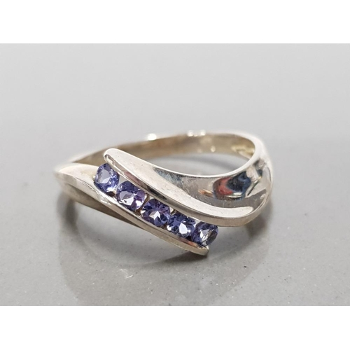 23 - 925 STERLING SILVER TANZANITE 5 STONE RING SIZE P1/2 GROSS WEIGHT 2.8G...