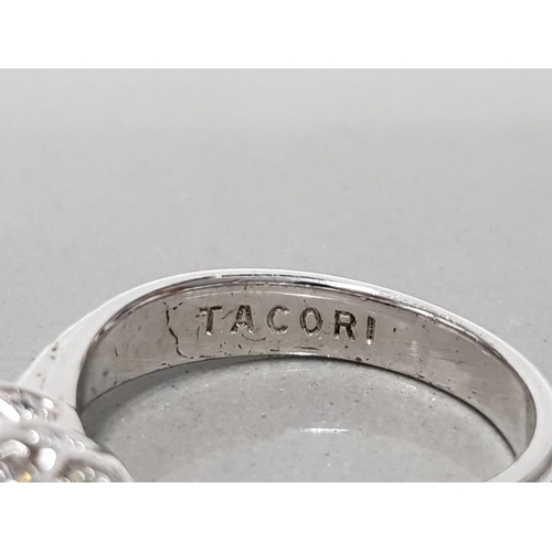 24 - 925 STERLING SILVER 3 STONE CZ TACORI RING SIZE N1/2 GROSS WEIGHT 5.2G WITH ORIGINAL BOX AND BAG...
