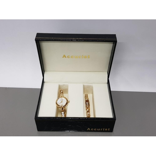 25 - ACCURIST 2 PIECE GIFT SET INCLUDES BRACELET AND WATCH WITH MOTHER OF PEARL FACE...
