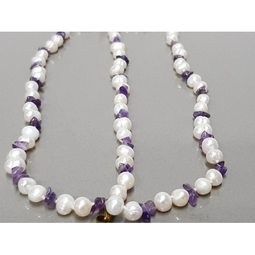 26 - FRESHWATER PEARL AND AMETHYST BEADED NECKLET AND MATCHING BRACELET...