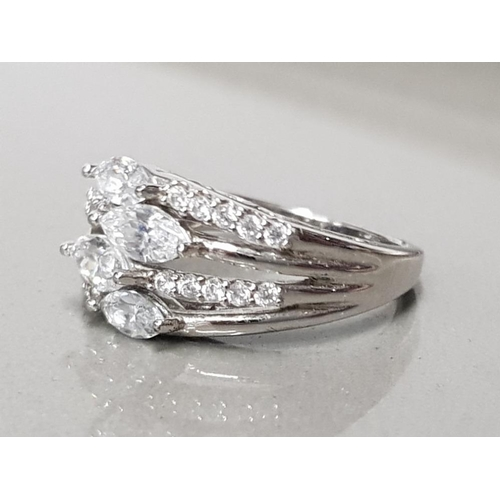 28 - 925 STERLING SILVER 4 MARQUISE CUT AND ROUND CZ RING SIZE N GROSS WEIGHT 4.8G...