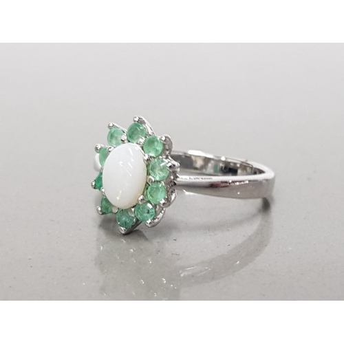 3 - 925 STERLING SILVER OPAL AND 10 EMERALD CLUSTER RING SIZE Q1/2 GROSS WEIGHT 3.5G...