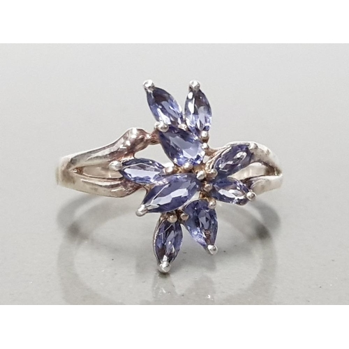 30 - 925 STERLING SILVER 9 STONE TANZANITE CLUSTER RING SIZE R1/2 GROSS WEIGHT 3.7G...